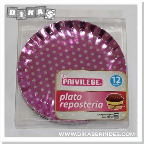 Mini Pratos Metalizados para Cupcake